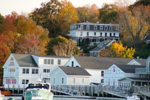 View of Camden Harbor Inn from Schooner Olad