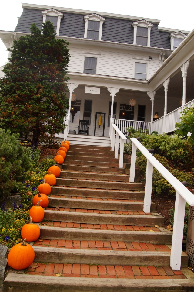 Camden Harbor Inn entry stairs & pumpkins